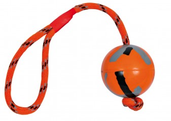 Dog toy rubber bal (6 cm) met koord