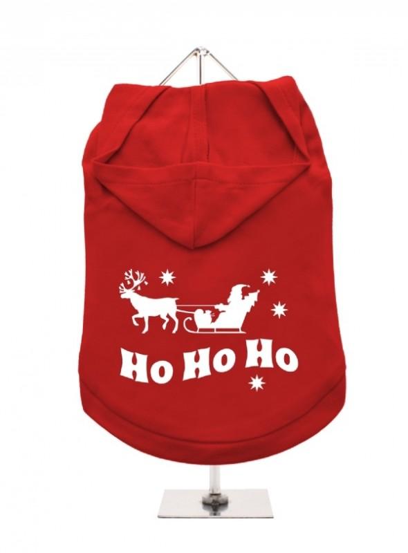 Fleece Lined Dog Hoodie HO HO HO